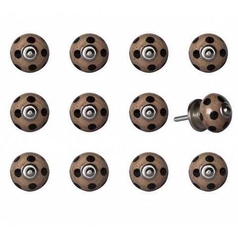 "1.5"" x 1.5"" x 1.5"" Ceramic/Metal Brown Black 12 Pack Knob - Handyman Official Shop"