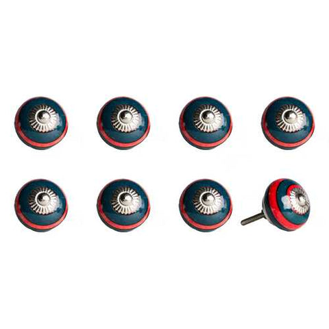 "1.5"" x 1.5"" x 1.5"" Ceramic/Metal Navy & Red 8 Pack Knob - Handyman Official Shop"