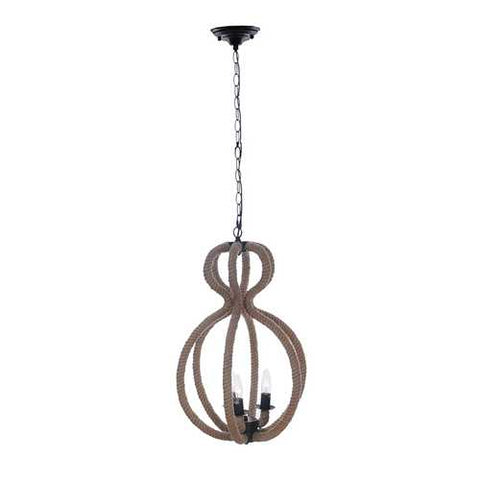 "15"" x 15"" x 47.5"" 3 Bulbs,Rope - Pendant Lamp"