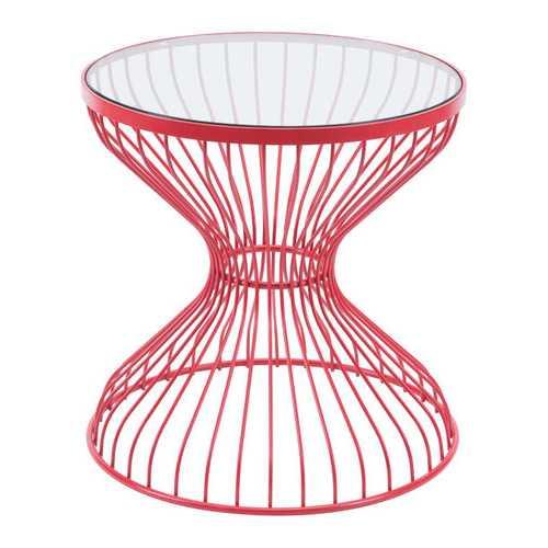 "19.7"" x 19.7"" x 19.7"" Red, Tempered Glass, Steel, Side Table"