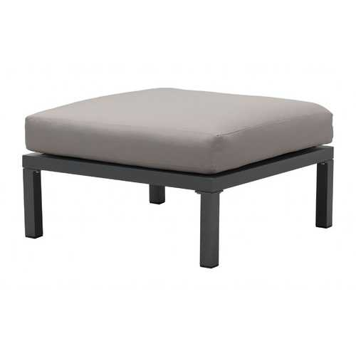 "28"" x 28"" x 16.9"" Dark Gray & Gray, Polyresin, Powder Coated Aluminum, Ottoman"
