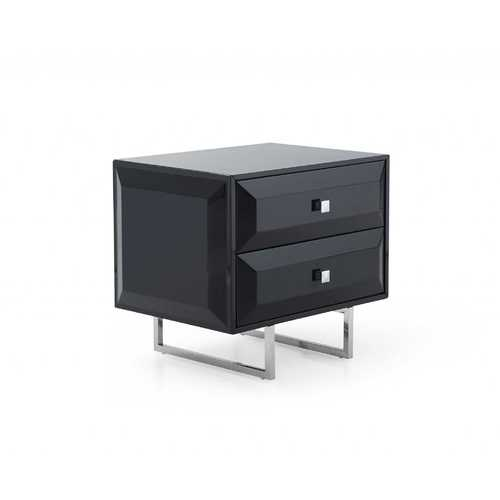"27"" X 20"" X 23"" Black, Chrome Nightstand"