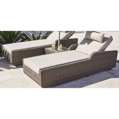 "78"" X 29"" X 35"" Brown 3-Piece Outdoor Arm Chaise Lounge Set with  Cushions"
