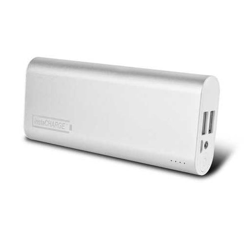 instaCHARGE 8800mAh Dual USB Power Bank Portable Battery Charger - Silver