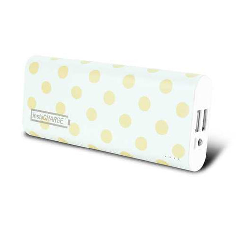 instaCHARGE 8800mAh Dual USB Power Bank Portable Battery Charger Gold Polkadot