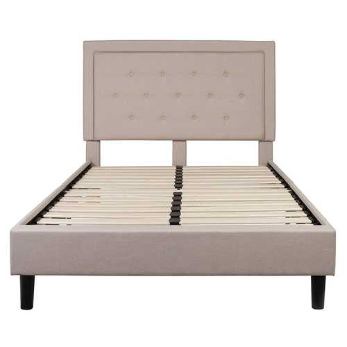 Full Beige Fabric Upholstered Platform Bed Frame with Tufted Headboard