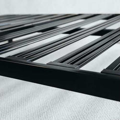 Twin XL Heavy Duty Wide Slat Steel Platform Bed Frame in Black Metal Finish