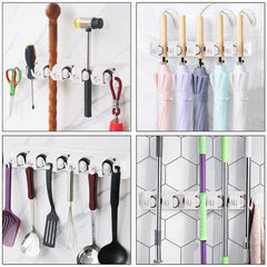 Wall-mounted Mop Holder Hanger with 5 Positions