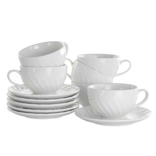 Elama Clancy 12 Piece 6 Ounce Porcelain Cup and Saucer Set in White