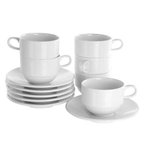 Elama Drew 12 Piece 8 Ounce Porcelain Cup and Saucer Set in White