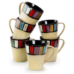 Elama Melange 6 Piece 14 Ounce Multicolored Stoneware Mugs