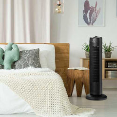 "Fantask 35W 28"" Quiet Bladeless Oscillating Tower Fan-Black"