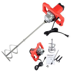 Electric Mortar Mixer 1600W Dual High Low Gear 6 Speed Paint Cement Grout