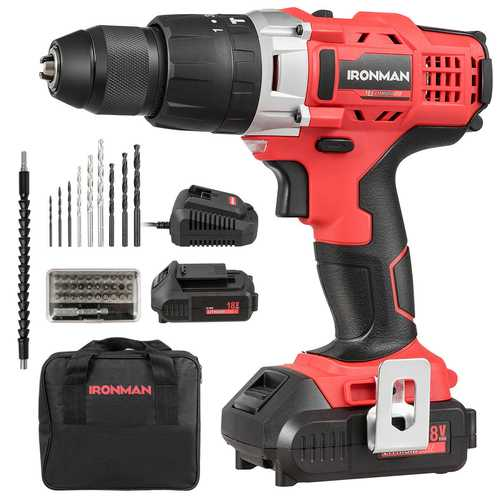 18V Cordless Drill Driver Impact Tool Kit with LED Light