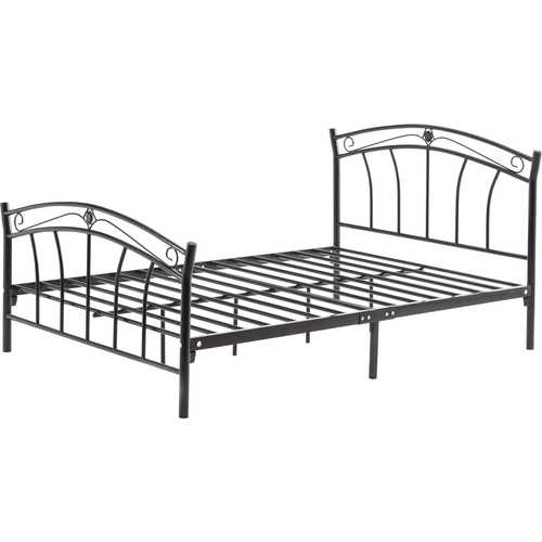 Full size Black Metal Platform Bed with Curvy Headboard and Footboard