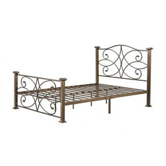Full size Gold Metal Platform Bed Frame with Headboard and Footboard