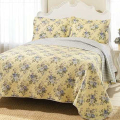 Full / Queen Yellow Blue Floral Lightweight Coverlet Set
