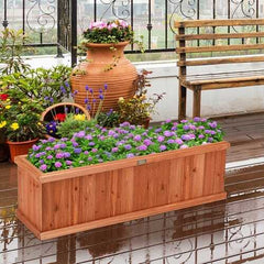 "3' x 3"" Wooden Decorative Planter Box for Garden Yard and Window"