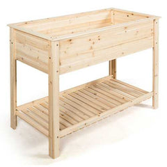 Elevated Wood Planter Box Stand with Storage Shelf