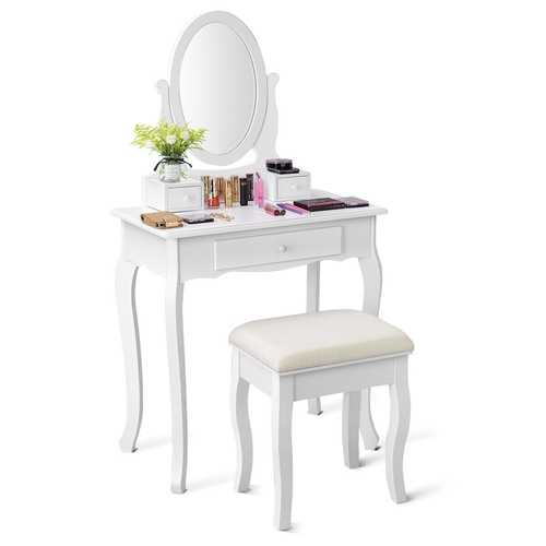 White Simple Vanity Makeup Table with Mirror + 3 Drawers
