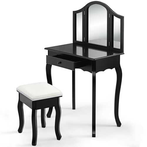 Vanity Makeup Dressing Table with Tri-Folding Mirror and Drawer-Black