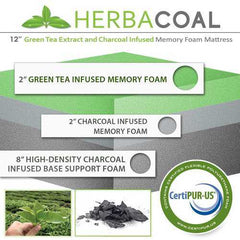"12"" King Green Tea and Bamboo Charcoal Infused Memory Foam Mattress"