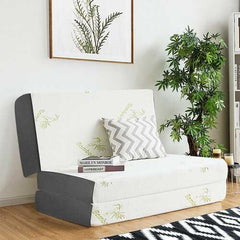 "6""  Tri-Folding Memory Mattress Sofa Bed Guests Floor Mat Carry Bag-Queen size"