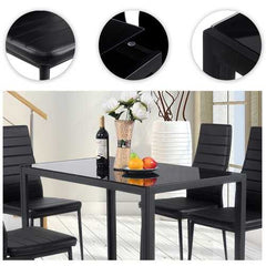 5 pcs Metal Frame and Glass Tabletop Dining Set