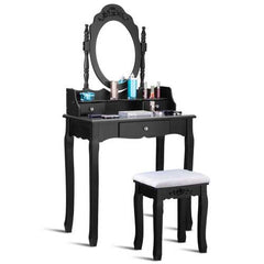 Vanity Makeup Dressing Table Stool Set Jewelry Desk 3 Drawer Mirror Black-Black