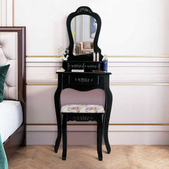 Vanity Wood Makeup Dressing Table Stool Set Black