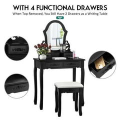 Vanity Makeup Dressing Table with a Mirror and 4 Drawers-Black