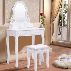 White Vanity Makeup Dressing Table with Mirror + 4 Drawers