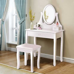 Vanity Wooden Makeup Dressing Table Stool Set -White