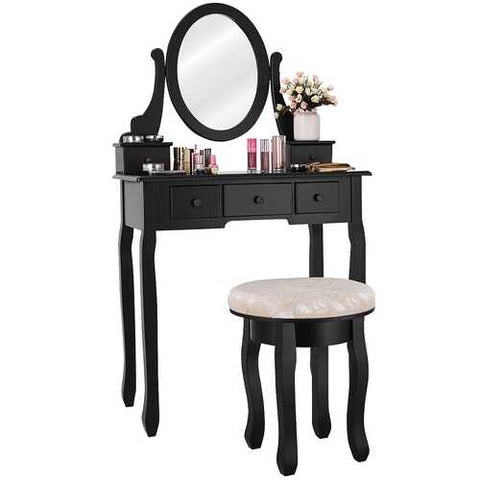Mirrored Vanity Table Set w/ Cushioned Stool & 5 Drawers