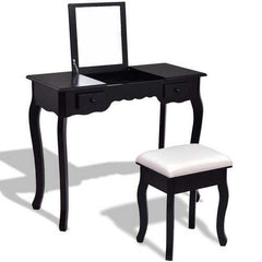 Mirrored Bathroom Dressing Vanity Table Set w/ Stool-Black