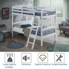 Hardwood Twin Bunk Beds with Individual Kid Bed Ladder-White