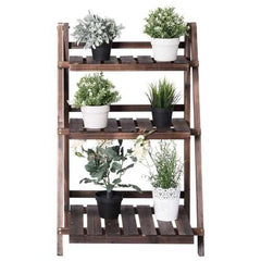 3 Tier Outdoor Wood Design Folding Display Flower Stand