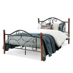 Full Size Steel Bed Frame with Stable Platform and Metal Slats-Black