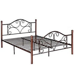 Queen Size Steel Bed Frame with Stable Platform and Metal Slats-Chocolate