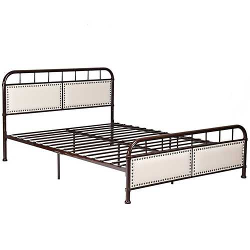 Queen size Metal Bed Frame Platform Bed Upholstered Panel-Chocolate