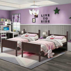 Wooden Bunk Beds Convertable 2 Individual Beds-Brown