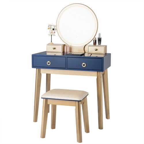 Makeup Vanity Table Set 3 Color Lighting Dressing Table-Navy