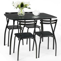 5 Pcs Dining Table Set with 4 Chairs - Black
