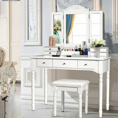 Vanity Tri-Folding Necklace Hooked Mirror Dressing Table Set with 7 Drawers-White