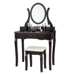 Vanity Set with Removable Makeup Organizer-Brown