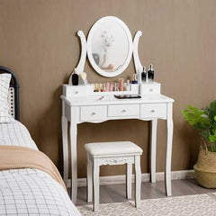 Vanity Set with Removable Makeup Organizer-White