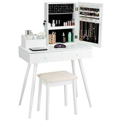 Vanity Dressing Table Set Lockable Jewelry Cabinet with Mirror-White