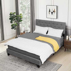 Queen Size Upholstered Panel Bed With Linen Panel