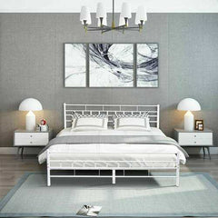 Queen Size Headboard Footboard Furniture Wood Slats Bed Frame-White