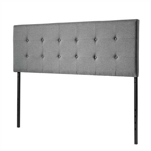 Height Adjustable Tufted Linen Fabric Upholstered Queen & Full Size Headboard-Gray